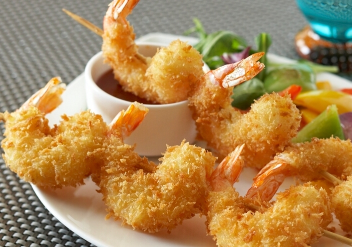 Fried Panko Shrimp on Skewer