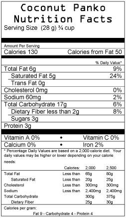 Caribbean Coconut Panko Nutrition